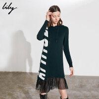 【25折到手价:219元】 Lily春新款女装休闲运动感撞色字母针织连衣裙118430B7705