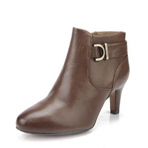 Clarks/其乐女鞋2017秋冬新款真皮时尚休闲高跟短靴Lily Belle专柜正品直邮