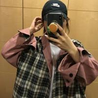 秋季女装格子外套学生韩版宽松原宿学院风上衣工装衬衫中长款