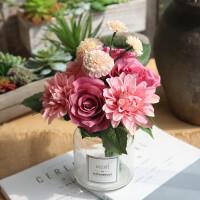 甜梦莱仿真玫瑰花束 欧式高客厅卧室办公桌装饰摆件假花绢花插花小盆栽