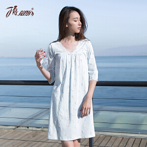 顶瓜瓜睡衣女士纯棉夏 甜美性感蕾丝花边女士五分袖印花睡裙
