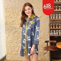 原创新款仿 女士性感睡裙夏季丝绸衬衫女性感睡衣家居服GH089 青褐