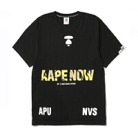 Aape男装春夏潮流个性黄迷彩猿颜字母印花短袖T恤2973XXA