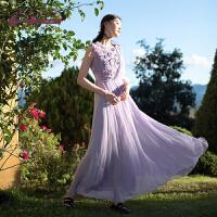 生活在左2019夏季原创设计师女装真丝连衣裙文艺无袖桑蚕丝长裙子