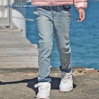 【618大促-每满100减50】诺帝卡童装 女童牛仔裤长裤儿童休闲长裤秋冬新品