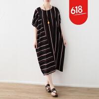 原创18夏季新款原创设计文艺女装不对称宽松大码彩条纹短袖雪纺连衣裙GH061 红白条 均码