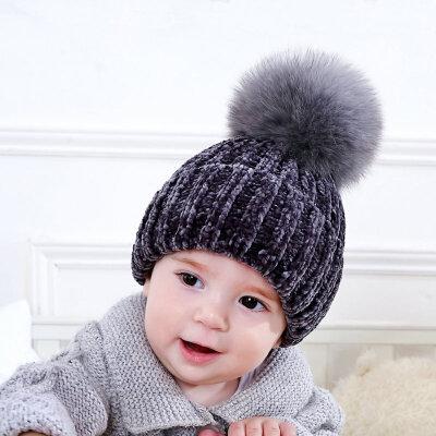 儿童韩版秋冬季新款宝宝保暖套头帽男女童可爱狐狸毛球帽子真毛潮 可爱 保暖 舒适