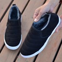【加绒加厚保暖休闲鞋】秋冬加绒老北京布鞋一脚蹬冬季棉鞋 黑色 绣线男棉