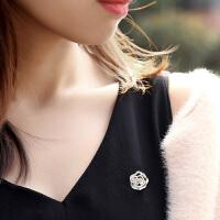 素描玫瑰胸针女 丝巾扣毛衣外套开衫领针气质简约配饰