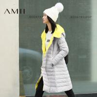 【满200减100 上不封顶】AMII[极简主义]冬装通勤长款修身加厚连帽羽绒服黑色外套女装