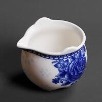白瓷青花缠枝莲花公道杯陶瓷泡茶功夫茶具茶海分茶器公杯匀杯单品