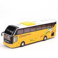 儿童玩具仿真汽车模型旅游巴士合金车模语音声光回力玩具车