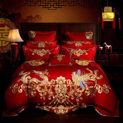 床上用品 中式婚庆多件套全棉喜庆绣花提花多件套 四、六、八件套