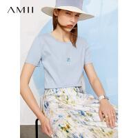 Amii极简印花修身小冰T恤女2021年夏季新款丝光纯棉网红短袖上衣