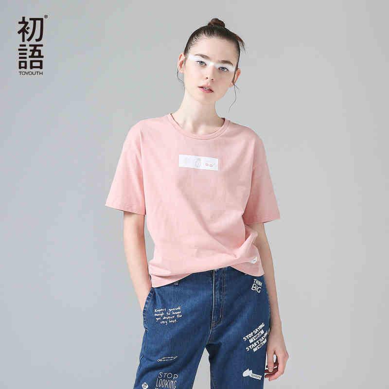 初语2017夏装新款圆领卡通印花短袖T恤女纯棉打底衫宽松百搭上衣