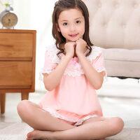 儿童睡衣夏季女童纯棉短袖夏天女孩公主中大童子家居服套装薄款