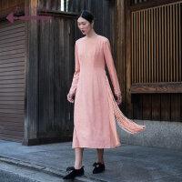 生活在左2018秋冬新款女装羊毛裙长裙长袖连衣裙长款