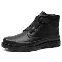 秋季男士马丁靴加大码45休闲短靴真皮韩版厚底男鞋46特大码工装靴 黑色