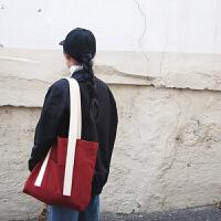 韩简约休闲帆布袋休闲文艺学生帆布包手提大容量大包 酒红色 其他