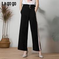 【新品5折价139】Lagogo/拉谷谷2019年夏季新款宽松侧边撞色拼接裤子女IAKK553C63