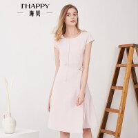 海贝夏季新款女装 气质圆领无袖高腰收腰系带纯色连衣裙中裙