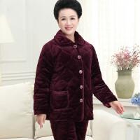 冬季女睡衣中老年睡衣女珊瑚绒夹棉加厚套装加肥加大 老年人棉袄