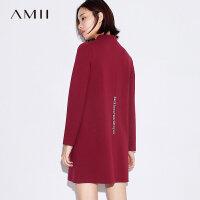 Amii港味小心机红色长袖印花连衣裙女秋冬新款立领内搭裙子