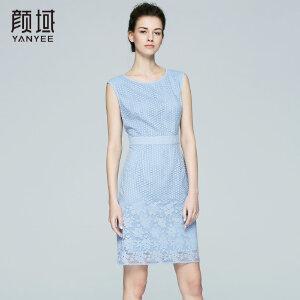 颜域品牌女装2017夏季新款X型时尚优雅拼接圆领蕾丝连衣裙女夏