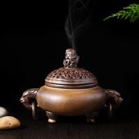 薰香炉 沉香檀香塔香线香用具 窑变手工香炉 陶瓷单狮双耳盘香炉