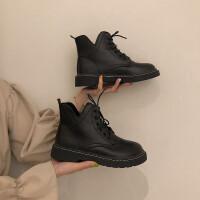 马丁靴女学生2019秋季新款英伦风复古短靴ins潮平底短筒机车靴子 黑色