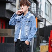 春秋季新款男士外套韩版潮流修身牛仔夹克男休闲帅气长袖上衣服 蓝色