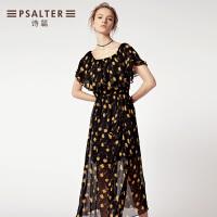 诗篇女装2018年夏季新款女一字肩高腰荷叶边连衣裙