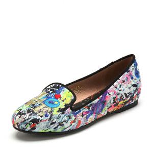 【3折到手价116.7元】索菲娅Safiya春夏格力特PU人造革平跟套脚涂鸦单鞋女SF53111046