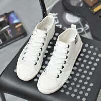 白鞋男青春版简约白色男布鞋新款韩版运动休闲潮流青年高帮帆布鞋