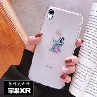 苹果x手机壳男女iPhonexsmax卡通史迪仔xr透明闪粉6sp硅胶7/8plus
