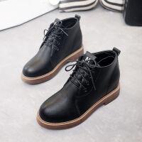 【加绒、单里】秋冬季内增高女鞋系带复古粗跟马丁靴英伦短靴