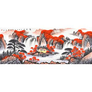 中国三峡画院一级画师石雪伟山水画《聚宝盆》gs01021