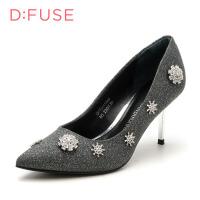 迪芙斯女鞋浅口细跟尖头高跟鞋子百搭单鞋DF73111240