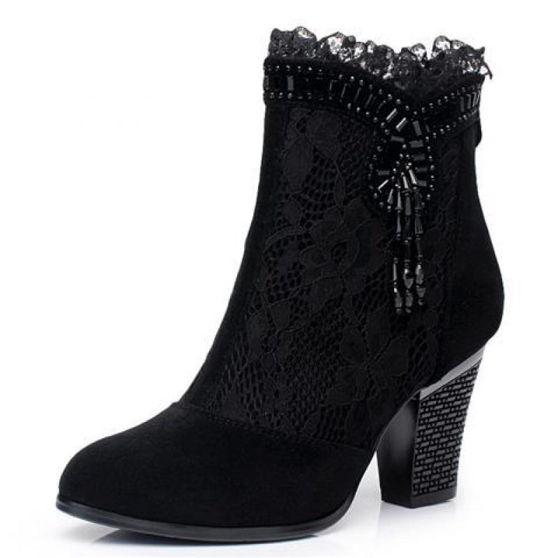 舒适好看!时尚新品真皮女春秋靴高跟鞋新款短靴单靴女鞋单鞋磨砂牛皮女靴青春靓丽 黑色