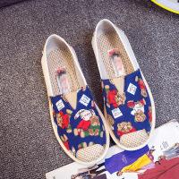 夏季帆布鞋女休闲鞋一脚蹬平底老北京布鞋低帮渔夫鞋透气懒人单鞋