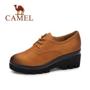 camel 骆驼女鞋  秋季新款英伦风简约方跟单鞋女 经典擦色系带休闲鞋