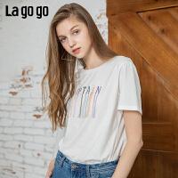 【5折价106】Lagogo/拉谷谷2019年夏季新款上衣白色宽松短袖T恤女IATT313G71