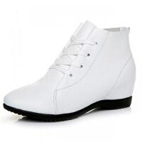 头层牛皮新款春秋女鞋平底内增高小白鞋舒适单棉短靴皮鞋裸靴