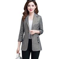 小西装外套春秋季2019秋装矮个子女装短款时尚百搭韩版薄上衣 灰色 XL 建议110-120斤左右