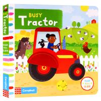 Busy系列 忙碌的拖拉机 Busy Tractor 英文原版绘本 推拉滑动机关操作纸板书 儿童英语启蒙趣味游戏玩具书
