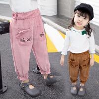 女宝宝裤子灯芯绒秋冬外穿女童春秋装婴幼儿童秋季