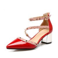 ELEISE美国艾蕾莎夏季上新003-V166韩版漆皮粗跟高跟中空尖头女士凉鞋