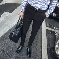 西裤男修身秋冬季休闲裤男士韩版潮流商务青年弹力小脚西装裤长裤 黑色长裤 28