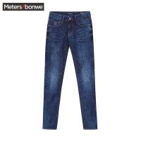 美特斯邦威牛仔裤男士冬装修身显瘦休闲小脚长裤子青年韩版潮流