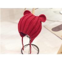 宝宝秋冬套头帽可爱耳朵针织帽宝宝保暖护耳帽子男女童系带毛线帽